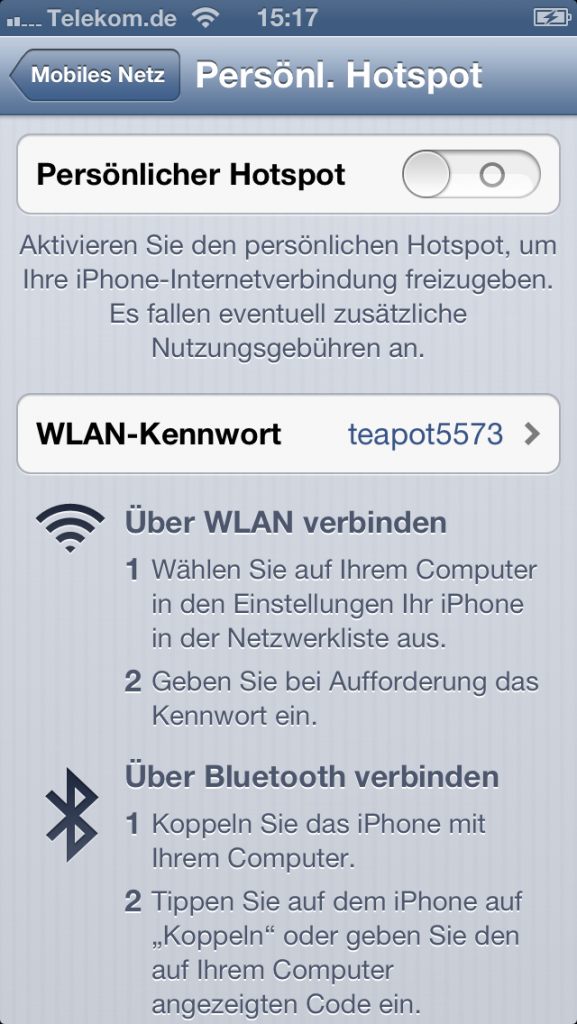 iPhone Hotspot älter