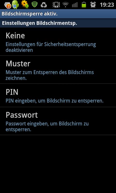 wie ihr dem screenshoot entnehmen knnt habt ihr die auswahl zwischen keiner bildschirmsperre einem muster einer pin sowie dem passwort - Muster Passwort