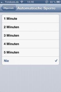 iPhone Bildschirmsperre aktivieren