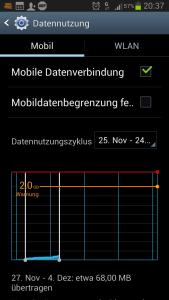 Datenvolumen messen Android