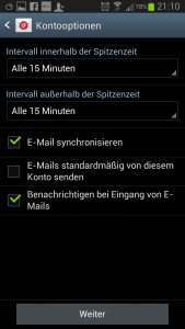 Kontooptionen E-Mail Galaxy S3