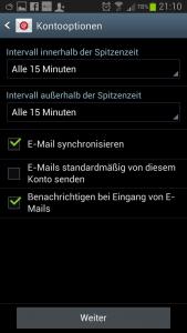 Kontooptionen E-Mail Galaxy S3