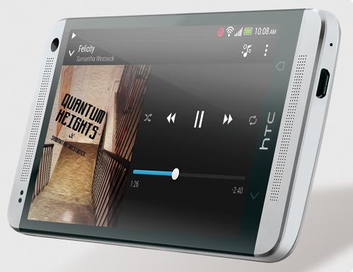HTC One Vorderseite in Silber von unten
