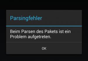 Android Parsingfehler