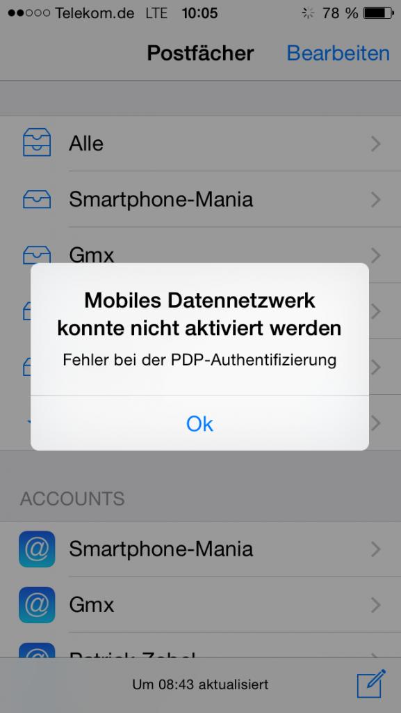 iPhone Fehler_PDP Authentifizierung