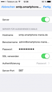 iPhone Mail smtp