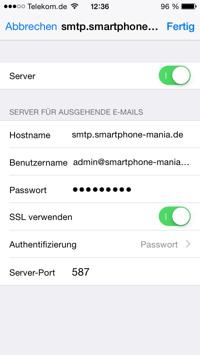 iphone smtp server geht nicht