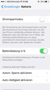 iOS 9 Batterie