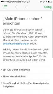 iOS 9 Mein iPhone suchen