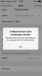 E-Mails konnten nicht geladen werden iPhone
