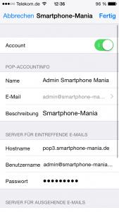 Mail Einstellungen pop iPhone