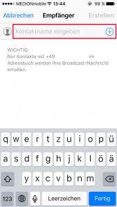 WhatsApp Broadcast Kontakte hinzufügen