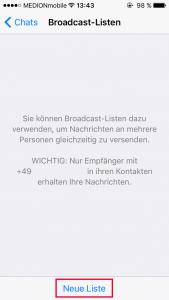 WhatsApp Broadcast neue Liste