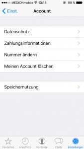 WhatsApp Nummer ändern Bereich Account