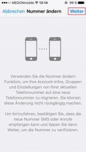 WhatsApp Nummer ändern Info