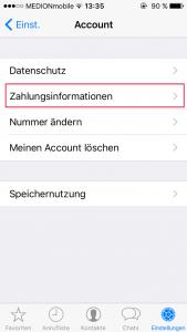 WhatsApp Nummer ändern Zahlungsinformationen