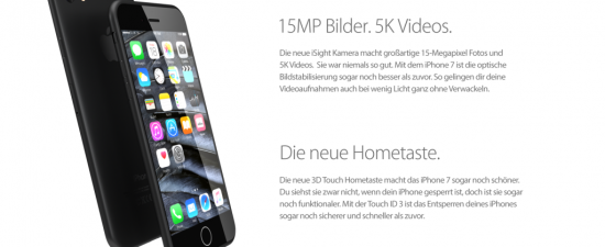 iPhone 7 stehend Konzept
