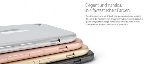 iPhone 7 verschiedene Farben Konzept