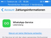 WhatsApp lebenslanger Service