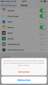 iCloud abmelden iPhone löschen