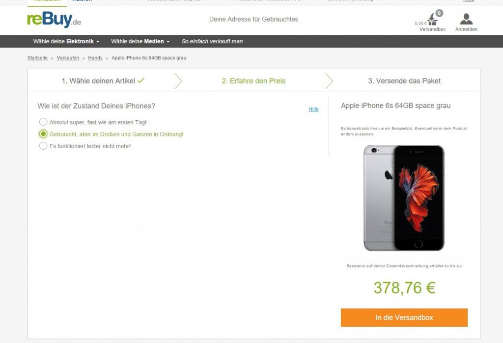 iPhone Verkaufen über reBuy