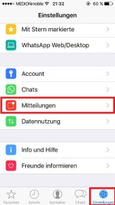 WhatsApp Push Notifications Mitteilungen einstellen
