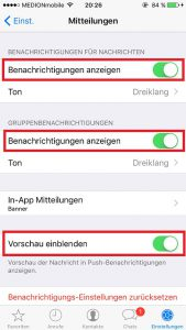 WhatsApp Push Notifications Benachrichtigungen