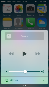 iOS 10 Kontrollzentrum Musik