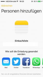 iOS 10 Notizen teilen