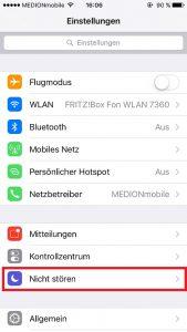 iPhone Nicht stören auswählen